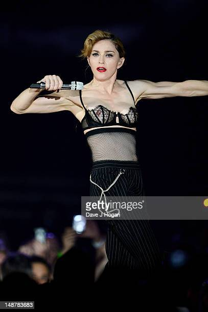Madonna performs during her MDNA Tour at The NIA Arena on July 19 2012 in Birmingham England