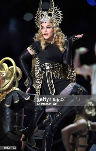 Madonna performs during the Bridgestone Super Bowl XLVI Halftime Show at Lucas Oil Stadium on February 5 2012 in Indianapolis Indiana