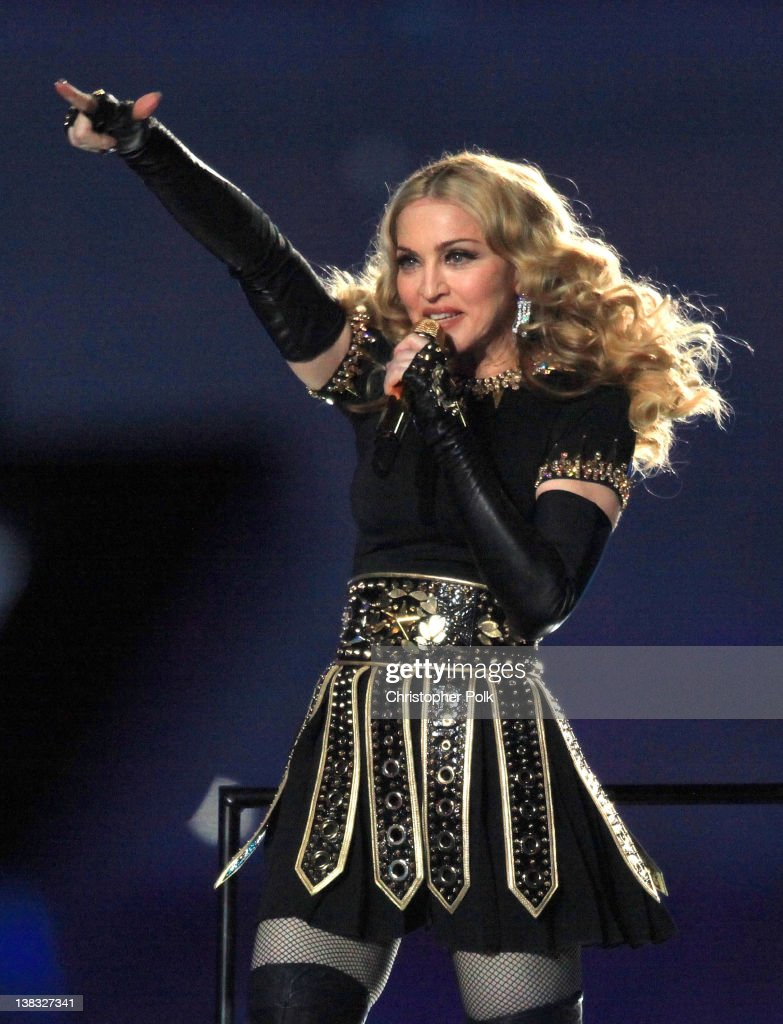 <a gi-track='captionPersonalityLinkClicked' href=/galleries/search?phrase=Madonna+-+Singer&family=editorial&specificpeople=156408 ng-click='$event.stopPropagation()'>Madonna</a> performs during the Bridgestone Super Bowl XLVI Halftime Show at Lucas Oil Stadium on February 5, 2012 in Indianapolis, Indiana.