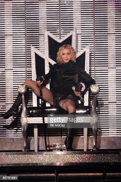 Madonna performs during the ''Sticky Sweet'' tour at the Boardwalk Hall on November 22 2008 in Atlantic City New Jersey