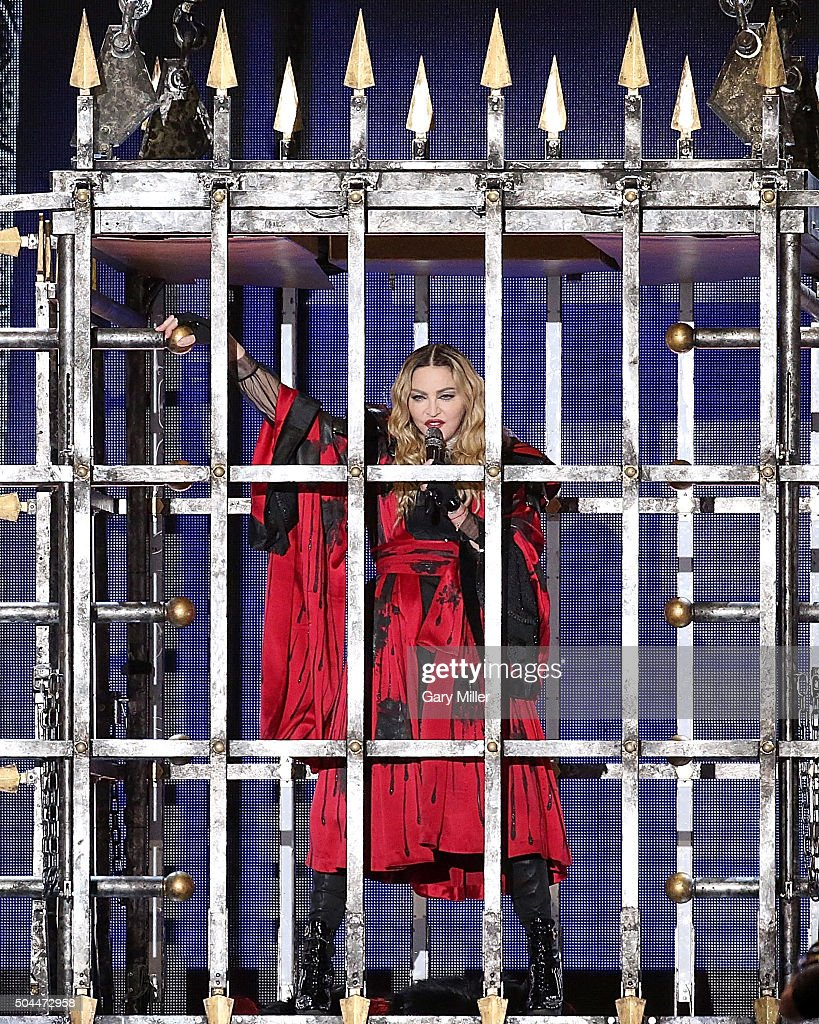 Madonna performs in concert during her Rebel Heart Tour at the ATT Center on January 10 2016 in San Antonio Texas