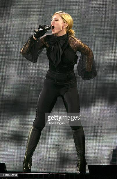 Madonna performs on stage at the first UK concert of her World Tour promoting her 'Confessions On A Dancefloor' album at Millennium Stadium on July...