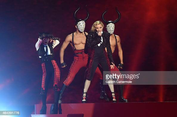 Madonna performs on stage during the BRIT Awards 2015 at The O2 Arena on February 25 2015 in London England