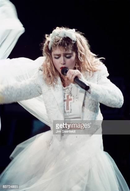 Madonna performs on the Virgin Tour at the St Paul Civic Center in St Paul Minnesota on May 21 1985