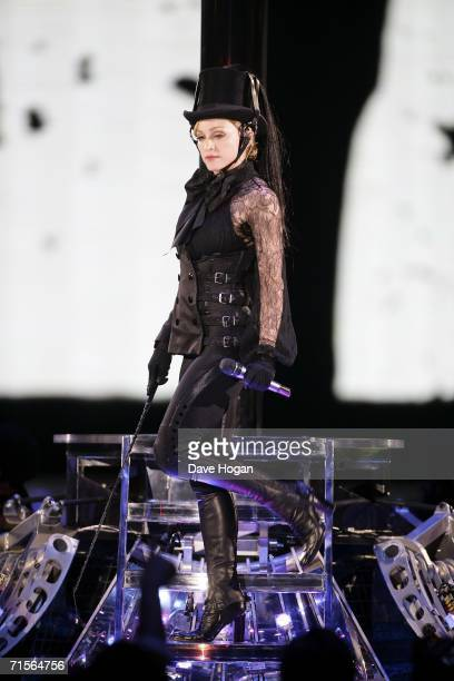 Madonna performs onstage at the first London concert of her 'Confessions' World Tour at Wembley Arena August 1 2006 in London England