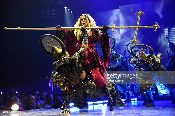 Madonna performs onstage during her 'Rebel Heart' tour at Wachovia Center on September 24 2015 in Philadelphia Pennsylvania