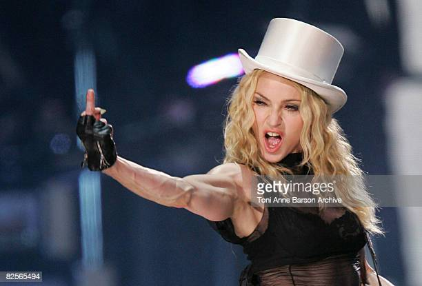 Madonna performs onstage during her 'Sticky and Sweet Tour' held at the Charles Ehrmann Nikaia Stadium on August 26 2008 in Nice France