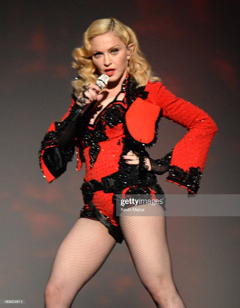 Madonna performs onstage during The 57th Annual GRAMMY Awards at the STAPLES Center on February 8, 2015 in Los Angeles, California.