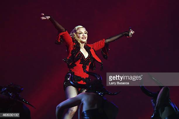 Madonna performs onstage during The 57th Annual GRAMMY Awards at the STAPLES Center on February 8 2015 in Los Angeles California