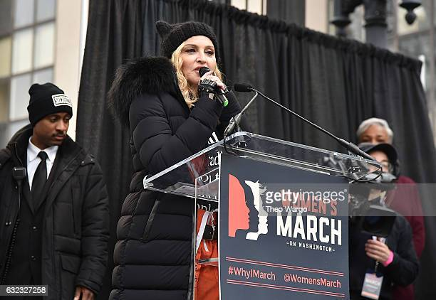 Madonna performs onstage during the Women's March on Washington on January 21 2017 in Washington DC