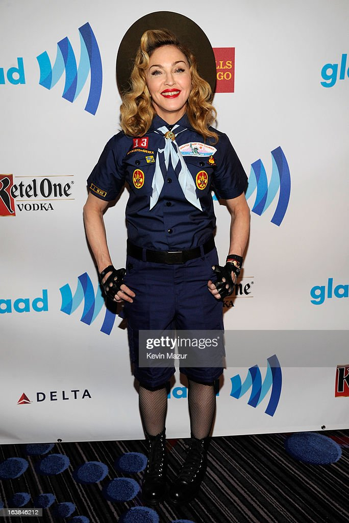 <a gi-track='captionPersonalityLinkClicked' href=/galleries/search?phrase=Madonna+-+Singer&family=editorial&specificpeople=156408 ng-click='$event.stopPropagation()'>Madonna</a> poses backstage at the 24th Annual GLAAD Media Awards at Marriot Marquis on March 16, 2013 in New York City.