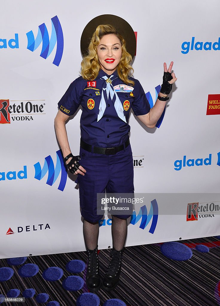 <a gi-track='captionPersonalityLinkClicked' href=/galleries/search?phrase=Madonna+-+Singer&family=editorial&specificpeople=156408 ng-click='$event.stopPropagation()'>Madonna</a> poses backstage at the 24th Annual GLAAD Media Awards on March 16, 2013 in New York City.