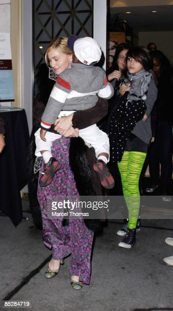 Madonna son David Banda and daughter Lourdes Leon attend Kaballah services in Manhattan on March 6 2009 in New York City