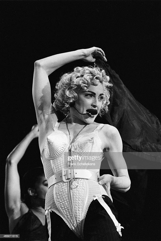 Madonna vocal performs at the Feijenoord Stadium with Blonde ambition tour in Rotterdam the Netherlands on 24th July 1990