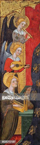 Madonna with Angels Playing Music ca 1380 Found in the collection of Museu Nacional d'Art de Catalunya Barcelona Artist Serra Pere