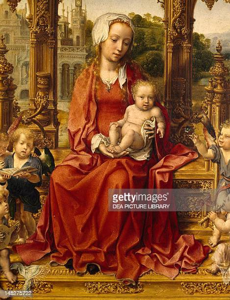 Madonna with Child and angel musicians central panel of the Malvern Triptych 15111515 by Jan Gossaert oil on panel Detail Palermo Galleria Regionale...