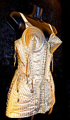 Madonna's cone bra costume designed by Jean Paul Gaultier is displayed as part of Hard Rock Cafe's Hard Rock Couture exhibition on August 29 2013 in...