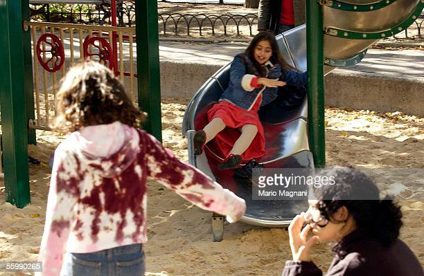 Madonna's daughter Lourdes plays on a downtown playground on October 23 2005 in New York City