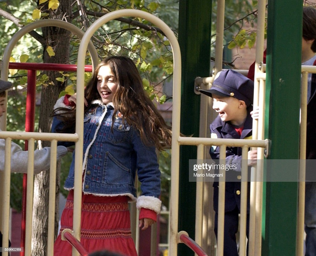 Madonna's daughter, Lourdes, plays with her brother Rocco on a downtown playground on October 23, 2005 in New York City.