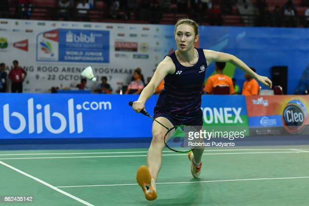 Madouc Linders of Netherlands competes against Chananchida Jucharoen of Thailand during Women Single qualification round of the BWF World Junior...