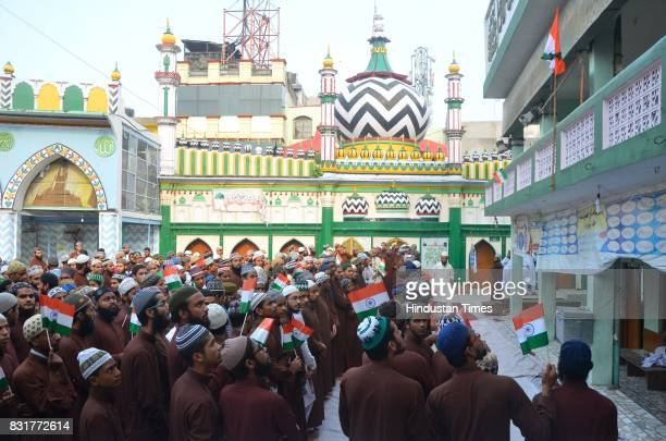Madrasas students celebrate on the occasion of 71st Independence Day Celebrations on August 15 2017 in Bareilly India The Yogi Adityanath government...