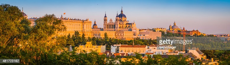 Madrid Almundena Cathedral and Palacio Real sunset cityscape panorama Spain