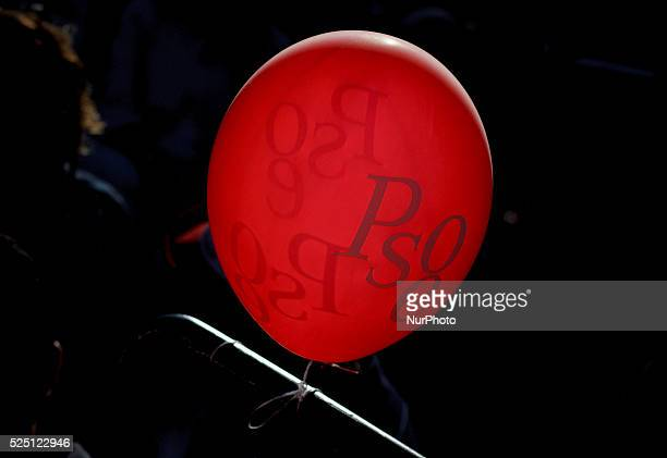 Balloons with the acronym of the Spanish Socialists during the final campaign meeting of the Spanish Socialists in Madrid on May 22 2015