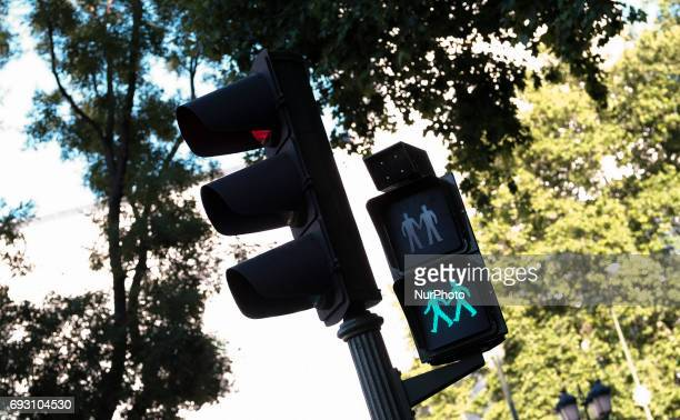 Madrid city council has installed the first pedestrian crossing lights of equality with the image of man or woman and manwoman couple and inclusive...