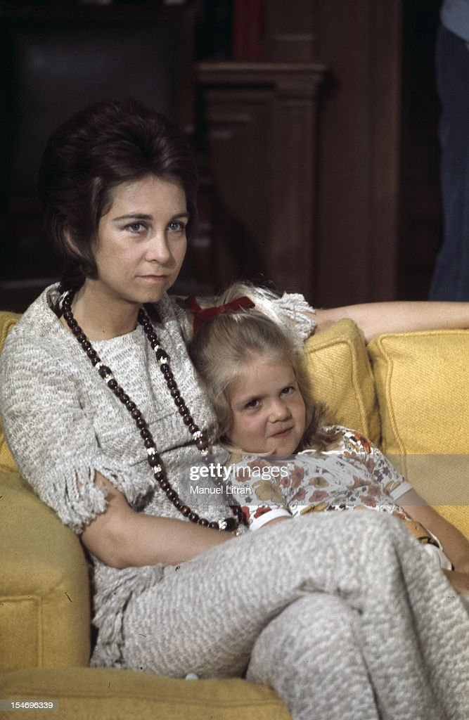 Madrid July 1971 at the Zarzuela Palace Princess Sophia of Spain Infanta Cristina cuddly seven years on a sofa in the living room