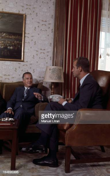 Madrid July 1971 in an interview room between Juan Carlos of Spain and the Vice President of the United States Spiro Agnew during their meeting at...