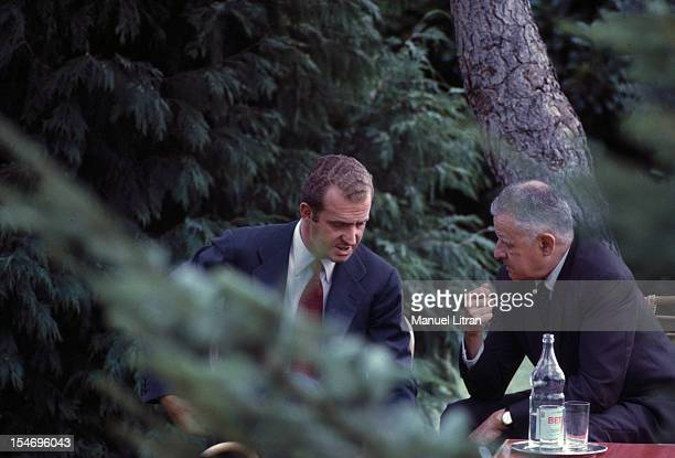 Madrid July 1971 Interview between Juan Carlos of Spain and the Vice President of the United States Spiro Agnew in the park of the palace of the...