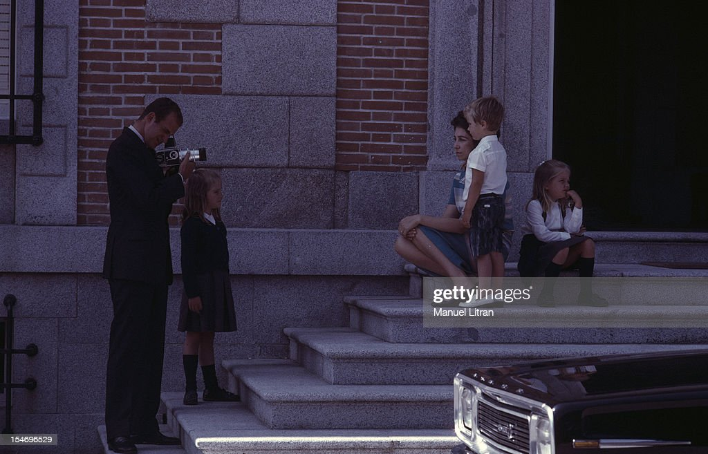 Madrid July 1971 the front of the Zarzuela Palace the Princess Sofia of Spain pose for a photographer with her children FELIPE Cristina and Elena on...
