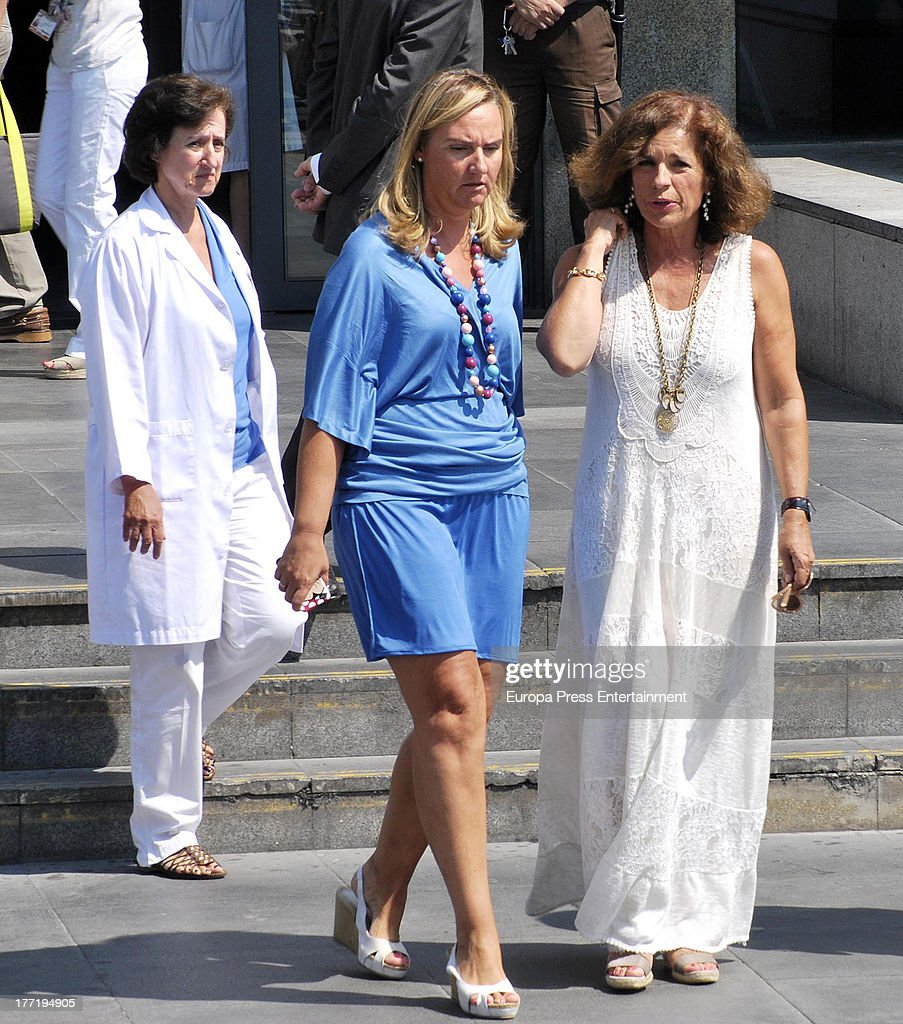 Madrid major Ana Botella visits the goverment delegate in Madrid Cristina Cifuentes after she suffered a crash accident when she was riding her...