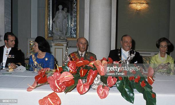 Madrid Palacio de Oriente Spain Formal dinner offered by Francisco Franco and lady to the presidente Hector Campora and lady with the presence of...