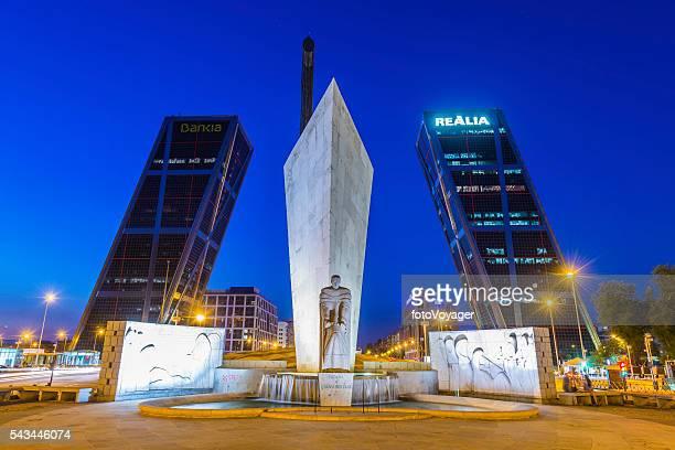 Madrid Plaza de Castilla Puerta de Europa illuminated night Spain