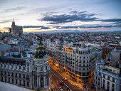 Madrid skyline, Gran Vía at dusk