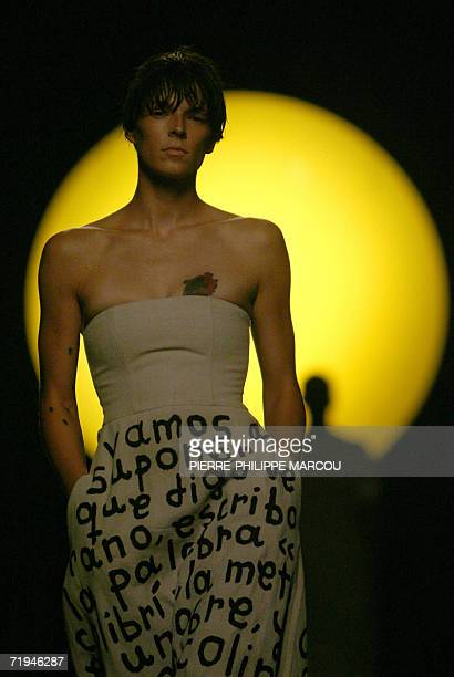 A model displays an outfit by Spanish designer David Delfin part of his Spring/Summer 2007 collection at Madrid fashion week 20 September 2006 AFP...