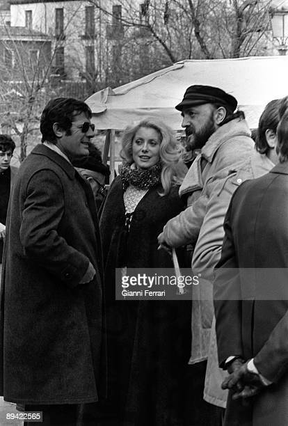 Madrid Spain Catherine Deneuve and Marcello Mastroianni filming the Luis Bunuel film 'La mujer con botas rojas'