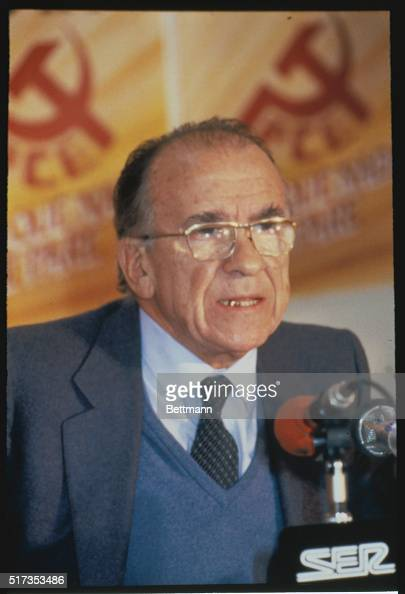 Close up of Santiago Carrillo leader of the Communist Party in Spain during the campaign