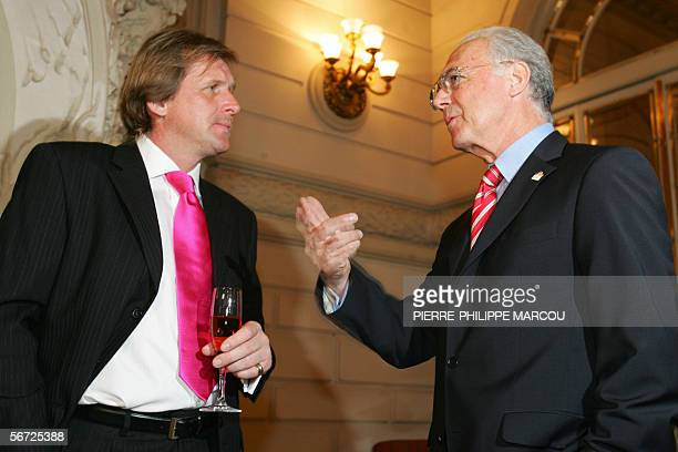 President of 2006 FIFA World Cup Organisation committee Franz Beckenbauer speaks with fellow countryman and Getafe coach Bernd Schuster during an act...