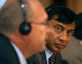 President of ArcelorMittal steel group Lakshmi Mittal and CEO Roland Junck give a joint press conference in Madrid about the group's restructuring...