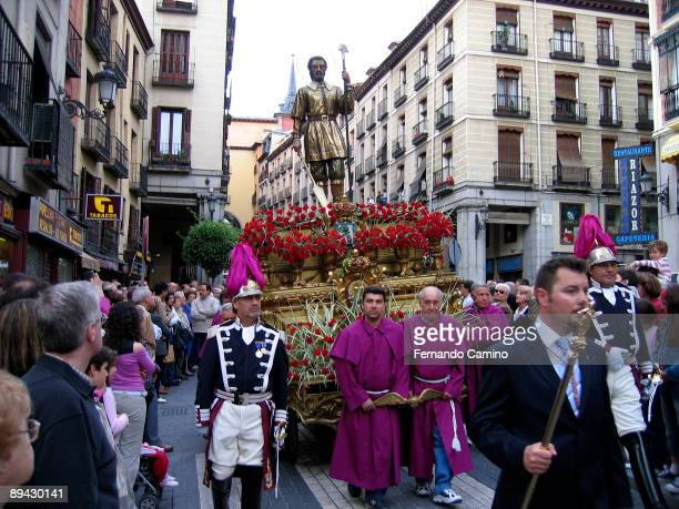 Madrid Spain Procession along the streets of Madrid in San Isidro Labrador festivity the saint of Madrid In the image the faithful carry the image of...
