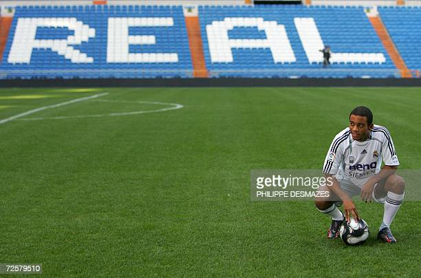 Real Madrid's new signing 18yearold Marcelo Vieira Da Silva Junior known simply as Marcelo poses during his presentation to the press after signing a...