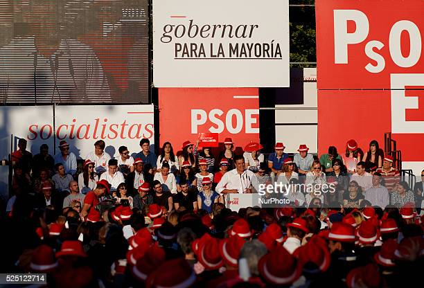 The leader of the Spanish Socialist Pedro Sanchez during the final campaign meeting in Madrid on May 22 2015