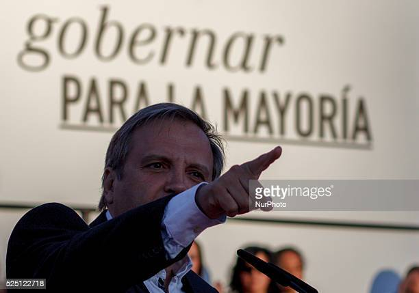 The socialist candidate for mayor of Madrid Antonio Miguel Carmona during the final campaign meeting in Madrid on May 22 2015