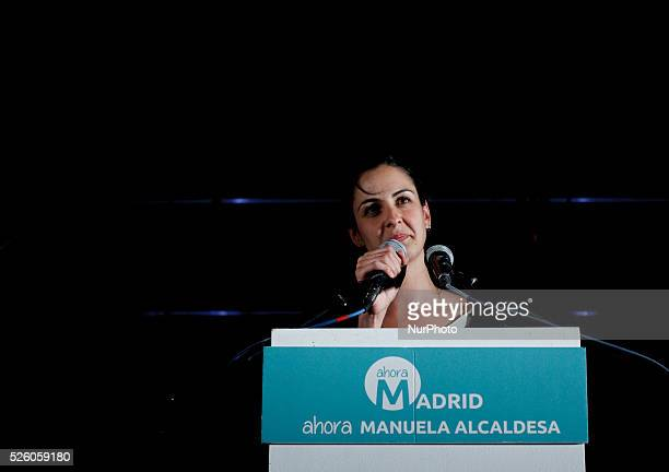 Ahora Madrid member Rita Maestre during his speech in Madrid on May 24 2015