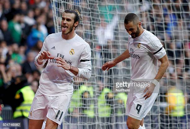 Real Madrid's Welsh forward Gareth Bale and Karin Benzema during the Spanish League 2015/16 match between Real Madrid and Rayo Vallecano at Santiago...