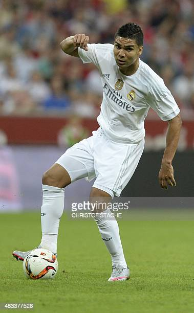 Madrid's Brazilian midfielder Casemiro plays the ball during the final football match between Real Madrid and Bayern Munich at the Audi Cup in Munich...