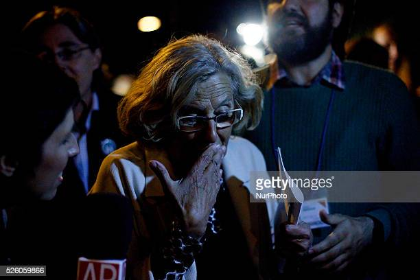 The leader of Ahora Madrid Manuela Carmena at the end of his speech in Madrid on May 24 2015