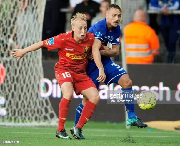 Mads Aaquist of FC Nordsjalland and Pierre Bengtsson of FC Copenhagen compete for the ball during the Danish Alka Superliga match between FC...